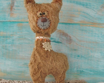 Alf the Alpaca softie artist bear by Woollybuttbears