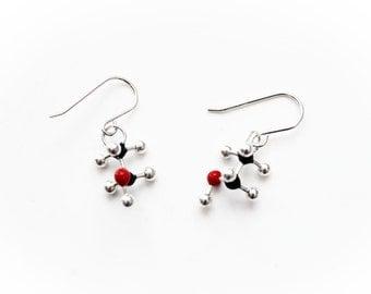 Alcohol Molecule Earrings - CH3CH2OH