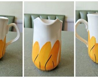 Vintage Vera Pitcher, Small Pitcher, Sunflower Design, Vera Creamer, Yellow Flowers Ceramic Pitcher, Vera Neumann, Vera Vintage Kitchen