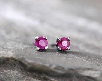 Ruby Earrings - Sterling Silver Stud Earring - 3 mm Ruby - Rustic - July Birthstone - Red Gemstone Earrings - Jewelry Made in Canada