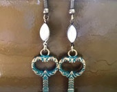 Verdigris Blue and Bronze Key Charm Pearl Navette Dangle Earrings