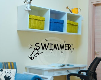 Swimmer Decal wall saying vinyl lettering