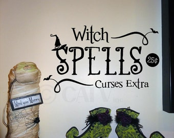 Halloween Witch Spells Curses vinyl lettering wall saying decal sticker home decor art