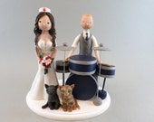 Nurse & Drummer Personalized Wedding Cake Topper