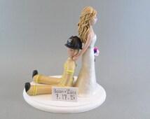Bride Dragging Firefighter Custom Wedding Cake Topper