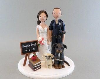 Police Officer & Teacher Custom Handmade Wedding Cake Topper