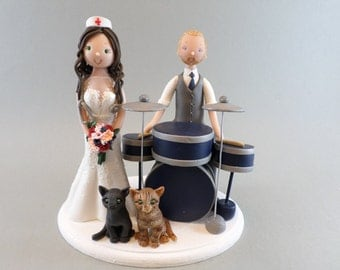 Nurse & Drummer Personalized Wedding Cake Topper