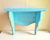 Rustic Turquoise Wood Wall Shelf Curvy Ready to Hang Distressed