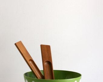 Mid Century Modern Dansk JHQ Teak Wood Salad Servers