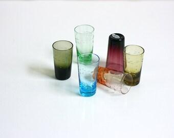 Vintage Jewel Tone Blown Glass Etched Shot Glasses
