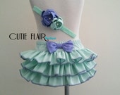 Baby Ruffle Bloomer and Matching Headband - Diaper Cover - Green Bloomers - Photo Prop Bloomer - Cake Smash Outfit -Size 6-12M Ready to ship