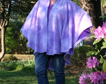 Lovely Lavender Tie Dye Fleece Shawl Wrap Up in Lilac for Spring