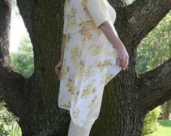 Hibiscus Print Chiffon Draped Vest - Yellow & White Floral Boho Sleeveless Duster Hoodie