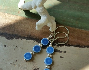 Blue Ceramic And Sterling Silver Earrings 102e