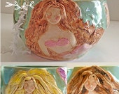 Mermaid Yarn Bowl Choose your Hair/Skin Color Knitting Bowl Beach Handmade Pottery Mother's day Gift in production