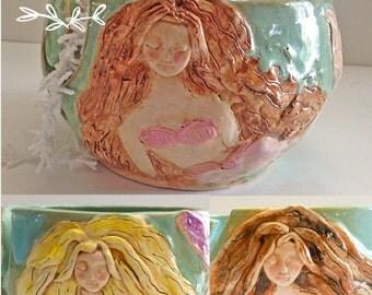 Mermaid Yarn Bowl for Knitting and Crochet - Coastal Decor - Handmade Pottery