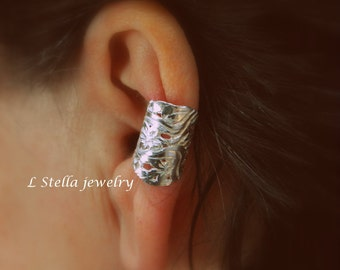 Flower Garden WIDE Ear Cuff  Non-Pierced women's earring Conch Sterling silver