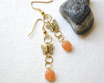 Orange Chakra Creativity Earrings - Red Aventurine, Gold, French Hooks - Handmade OOAK - Free US Shipping, Metaphysical Jewelry, Butterfly