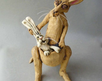 The Intruder : Kangaroo and Rabbit Whimsical Ceramic Sculpture