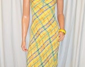 Vintage Angie Yellow Blue Green Striped Dress M