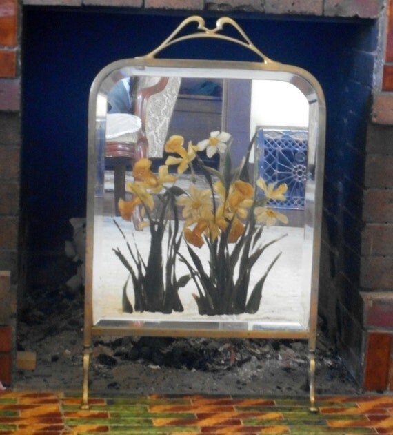 Victorian Fireplace Screen Hand Painted Daffodils Small Fire Place Screen Mirror And Brass