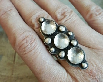 Three Faceted Clear Quartz and Sterling Silver Ring size 8.5
