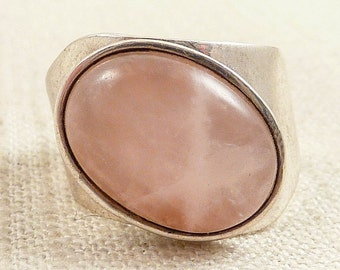 SALE ---- Size 11 Vintage Jay King Sterling Rose Quartz Ring