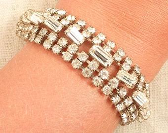 Signed Vintage Crystal Rhinestone Bracelet by Jewelry Fashions