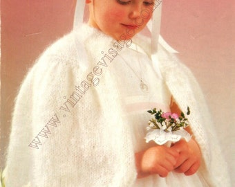Flowergirl, bridesmaid cape cloak 22-32 inch chest- vintage knitting pattern-pdf instant download