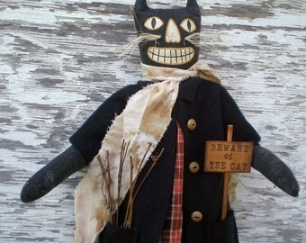 Cinder The Primitive Spooky Halloween Black Cat Folk Art Doll