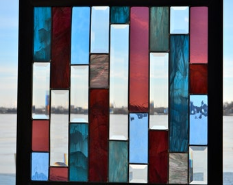 Beautiful Bands of Color Large Stained Glass Window with Wooden Frame