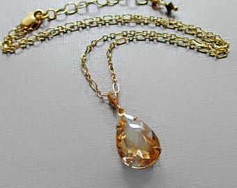 Golden Crystal Necklace - Bridesmaid Gift Necklace - Golden Champagne Rhinestone Pendant - CAMBRIDGE Golden Champagne