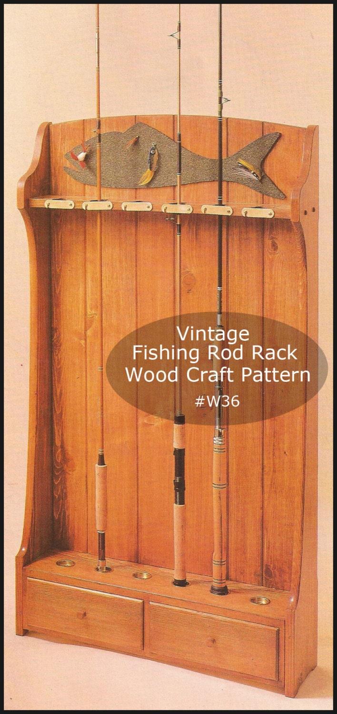 Fishing Rod Rack Fishing Wood Pattern Cottage Fishing Rod Rack