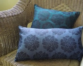 Indigo Water Lily Hand Block Printed Floral on teal or blue linen home decor pillow cover