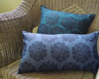 Indigo Water Lily Hand Block Printed Floral Indigo on teal or blue linen botanical decorative colorful home decor pillow cover
