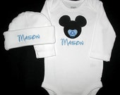 Custom Personalized Applique PACIFIER MICKEY and NAME Bodysuit and Hat Set - Lt Blue and Black
