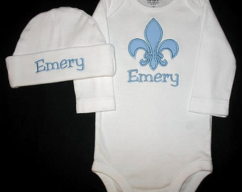 Custom Personalized Applique FLEUR de LIS and NAME Bodysuit and Hat Set - Lt Blue