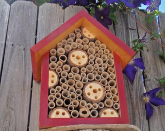 Handmade Beneficial Bug Box, Solitary Bee House, Bee Hotel, Open Face All Natural Insect Habitat, Persnickety Bug Box, Rustic Red Bee House