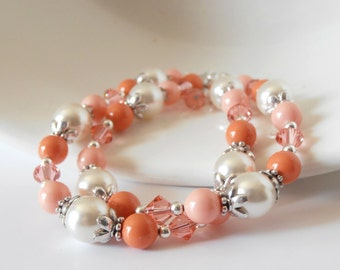 Coral Bridesmaid Bracelet Swarovski Pearl and Crystal Multiple Strand Beaded Bracelet Summer Wedding Pink Coral Orange Coral Bridesmaid Sets