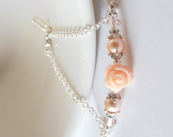 Peach Flower Necklace Beaded Bar on Silver Chain Delicate Floral Bridesmaid Jewelry with Pearls and Crystals Romantic Peach Wedding Jewelry