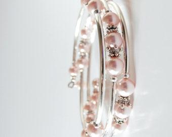 Pink Flower Girl Bracelet, Child Size Memory Wire Bracelet, Swarovski Pearl Bracelet, Pink Wedding Jewelry, Flower Girl Gift