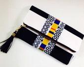 Black and White Clutch, Stripe Foldover Clutch Bag, Tribal Print Clutch Bag, Summer Clutch, Bridesmaids Gift