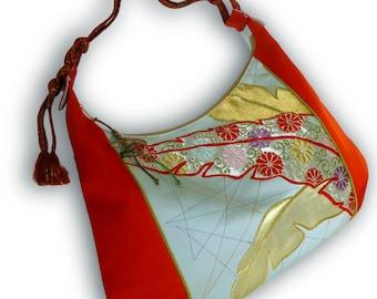 Japanese Vintage Obi Over Size Hobo Bag - Tomato Red