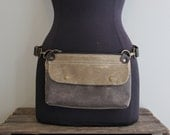 Hip Pouch Fanny Pack Tan and Brown Waxed Canvas