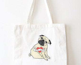 Pug Mum Tote Bag - Puge Tote - Pug Bag - Dog lover Gift - Dog Mom - Ready to Ship