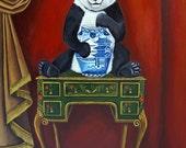 "Still Life Painting ""Chinoiserie Style ""Panda Bear pagoda vase art by Catherine Nolin"