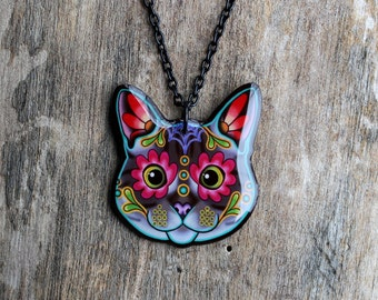 Grey Tabby Cat - Day of the Dead Sugar Skull Kitty Necklace