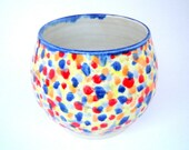 Ceramic Candy Jar Serving Bowl in Stoneware Pottery with Colorful Gumball Polka Dots