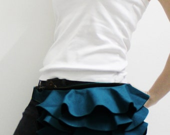 New Year SALE - 20% OFF Ruffled Waist Purse in Dark Teal / Fanny Pack / Hip Bag / Pouch / Waist Belt / Women / For Her / Gift Ideas
