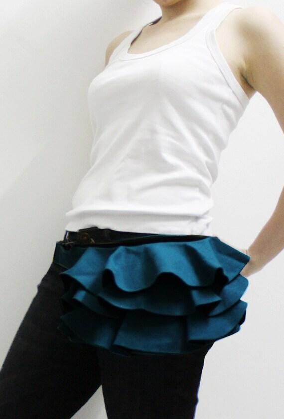 Halloween SALE - 20% OFF Ruffled Waist Purse in Teal / Fanny Pack / Hip Bag / Pouch / Waist Belt / Women / For Her / Gift Ideas